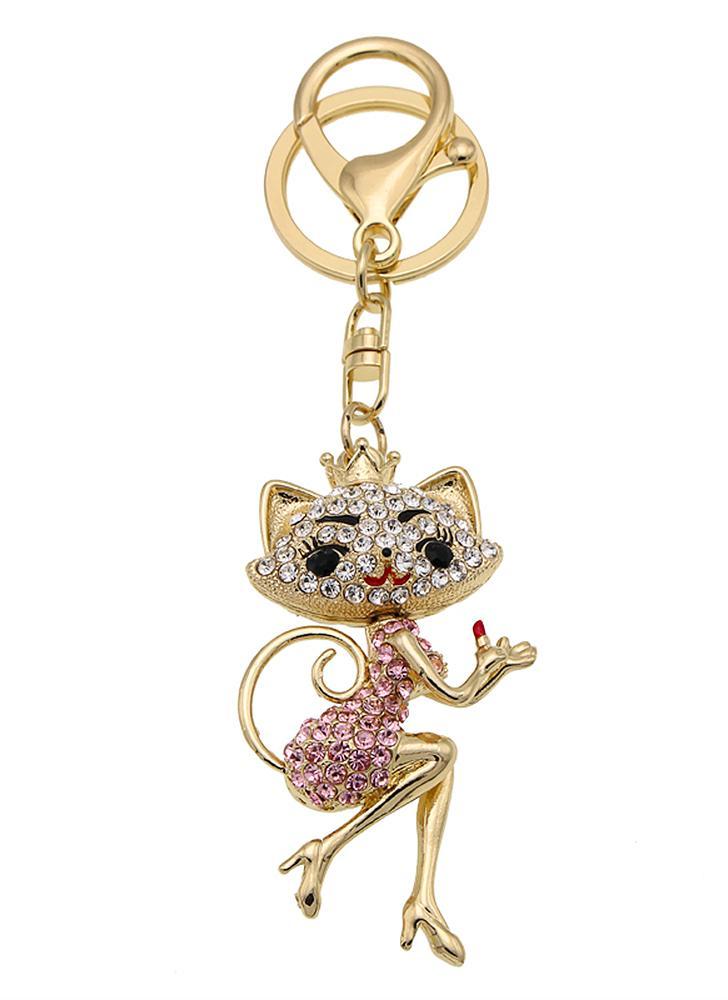 Cartone animato gatto in lega di zinco strass catena chiave cava splendente portachiavi con gancio clip borsa borsa auto pendente ornamento Decor - rosa