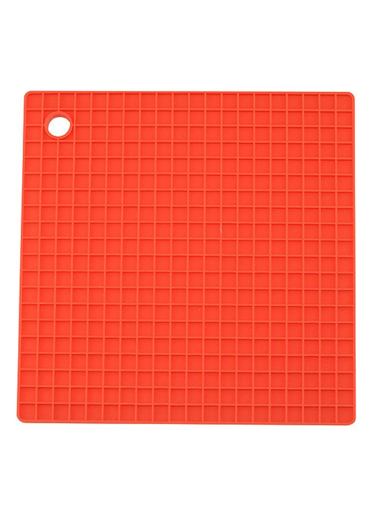 Multi-functional Silicone Heat Resistant Pad Non-slip  Kitchen Use Square Insulation Cushion  Anti Ironing Casserole Mat  Tray Pad  Orange
