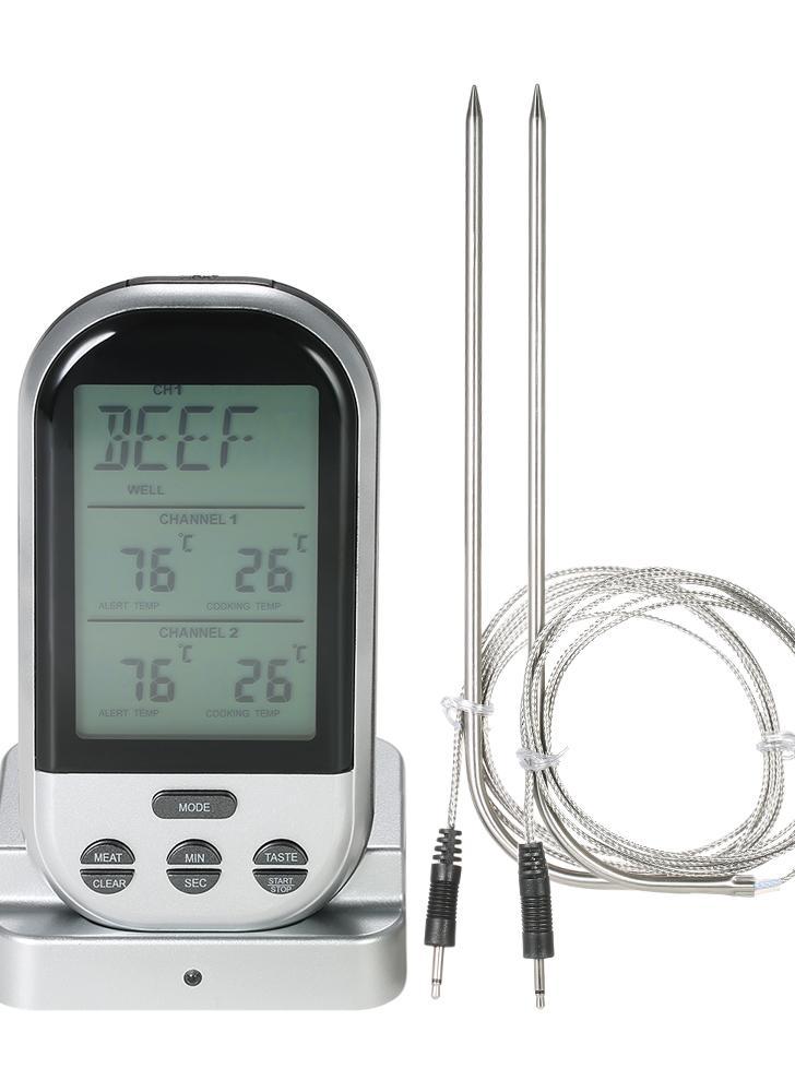 Wireless Digital Food BBQ Cooking Termometro Timer Retroilluminazione LCD Indicatore di temperatura con trasmissione Dual Probes - Silver