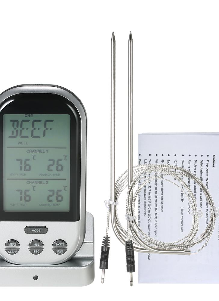 Wireless Digital Food BBQ Cooking Thermometer Timer Backlight LCD Temperature Gauge with Transmission Dual Probes--Silver