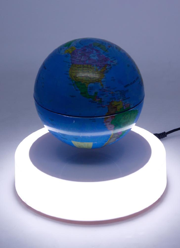 World Map Globe Ball. Magnetic Floating Globe 6inch Suspension Levitation Rotating Ball LED Light  Base Levitating World Map for 1