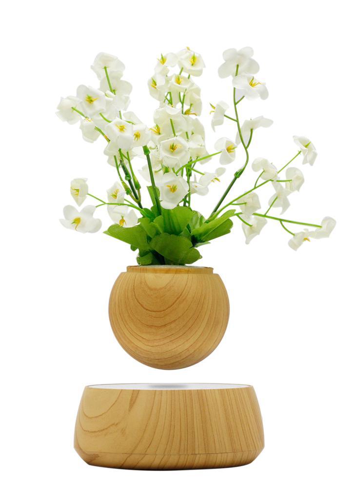 Lévitation magnétique Pot de plantes flottantes Lévitation Rotating Suspension Flower Air Bonsai Pot Pot de fleurs avec base en bois pour la décoration de bureau à domicile EU Plug
