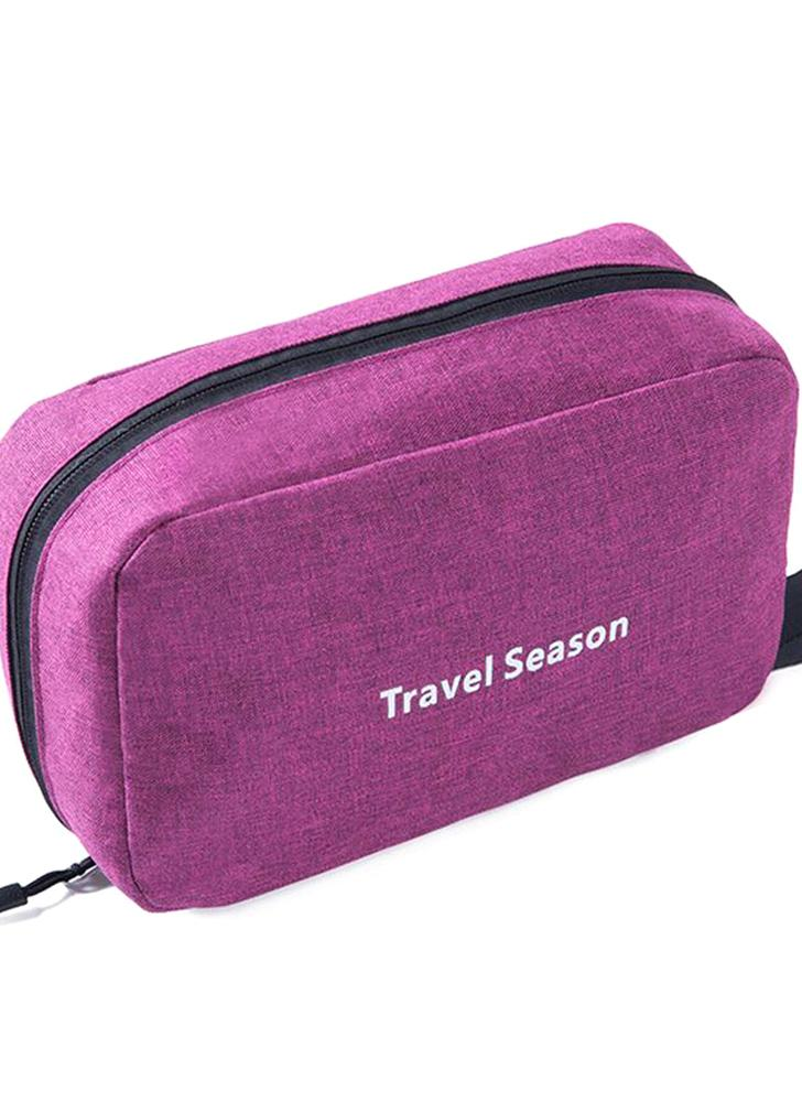 Portable Waterproof Toiletry Bag Polyester Fold Travel Cosmetic Makeup Organizer Wash Shaving Zipper Suspension Bag accessorie Supplies Organizer (Black)
