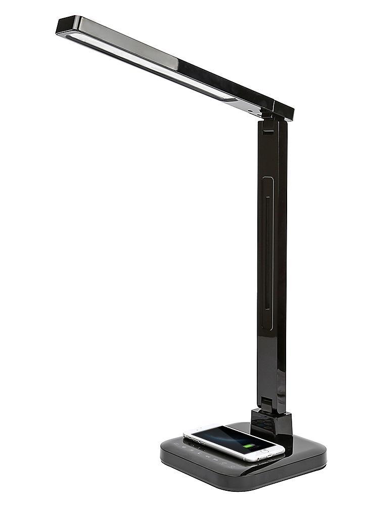 LED Lámpara de escritorio Protección ocular Lámparas de mesa inteligentes Soporte de escritorio Qi Carga inalámbrica Toque Brillo Luz de control de temperatura de color Plegable Giratorio regulable 1.5A Carga USB