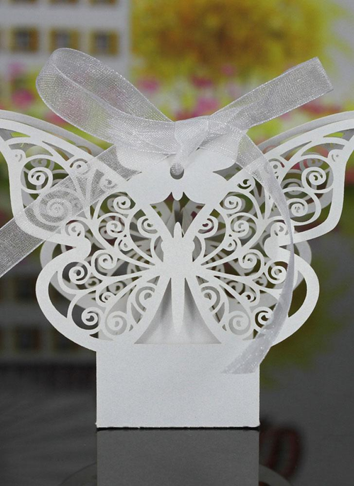 20 PCS Laser Cut Delicate Carved Butterfly Elegant Candy Boxes with Ribbon for Party Birthday Wedding Banquet Kindergarten Bridal Shower