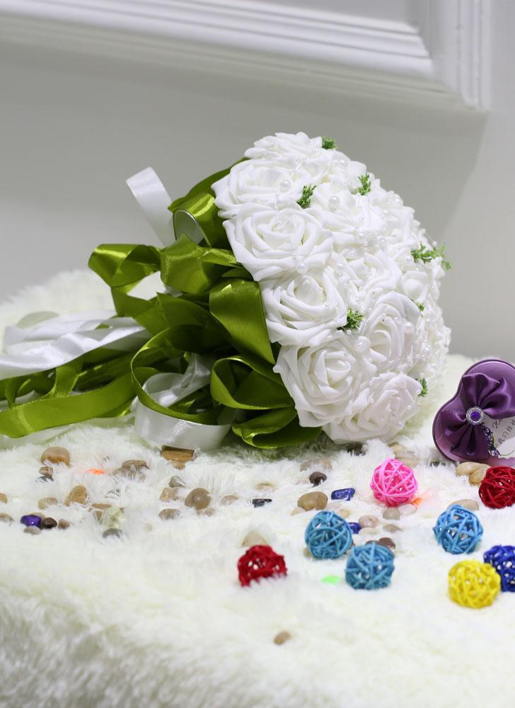 white Wedding Bouquet PE Rose Artificial Flower Bouquets Wedding ...