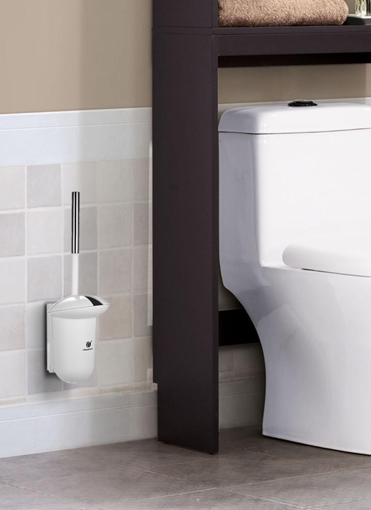 CHUANGDIAN Wall-mounted Hideaway Toilet Brush and Holder Bathroom Toilet Bowl Cleaning Tool