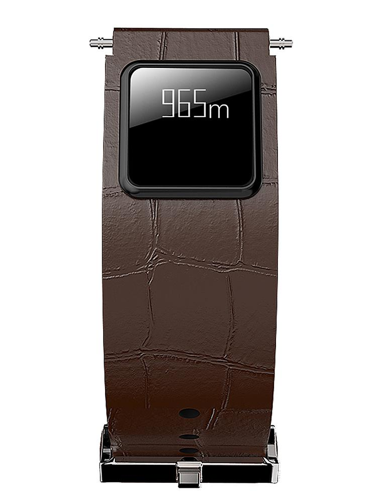 Genuine Leather Watch Band with Touch Screen BT Water-Proof Smart Wristband