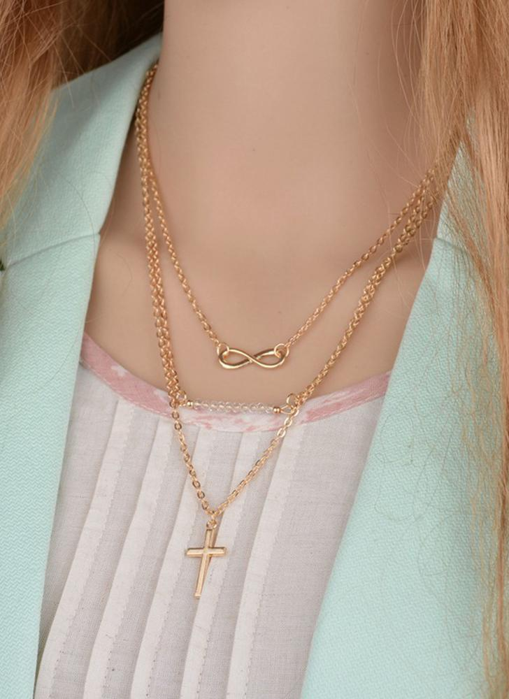 Fashion Temperament Multi-layer Beads Cross Pendant Necklace Alloy Clavicle Chain Women Jewelry