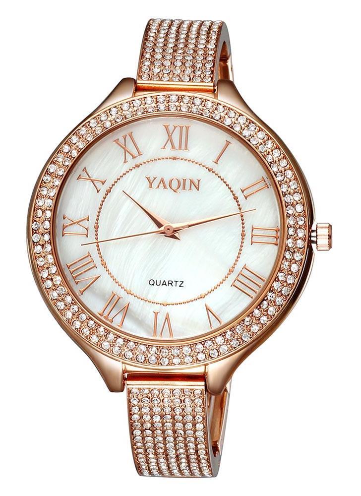 b50bf07182c YAQIN delicado brillante incrustado brazalete estilo reloj romano Simple  números marcado lujo elegante reloj de pulsera