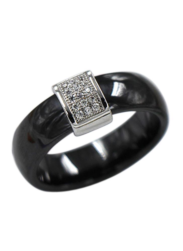 Nano Ceramic And S925 Sterling Silver Dome Ring