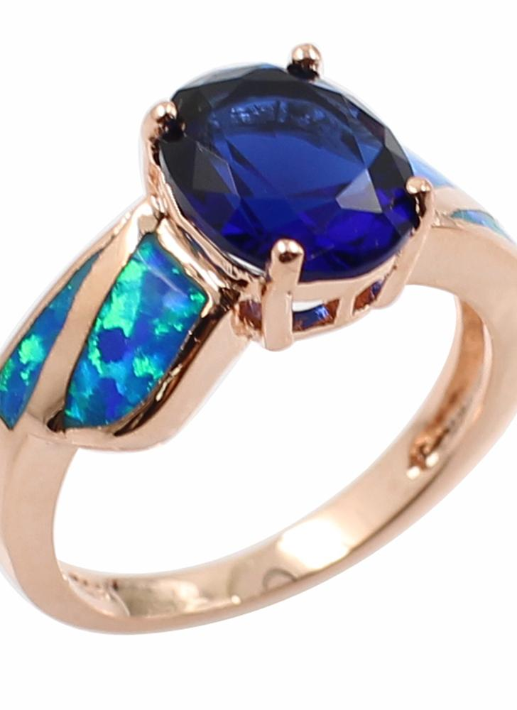 Fashion CZ Diamond Simulated Opal 925 Sterling Silver Ring