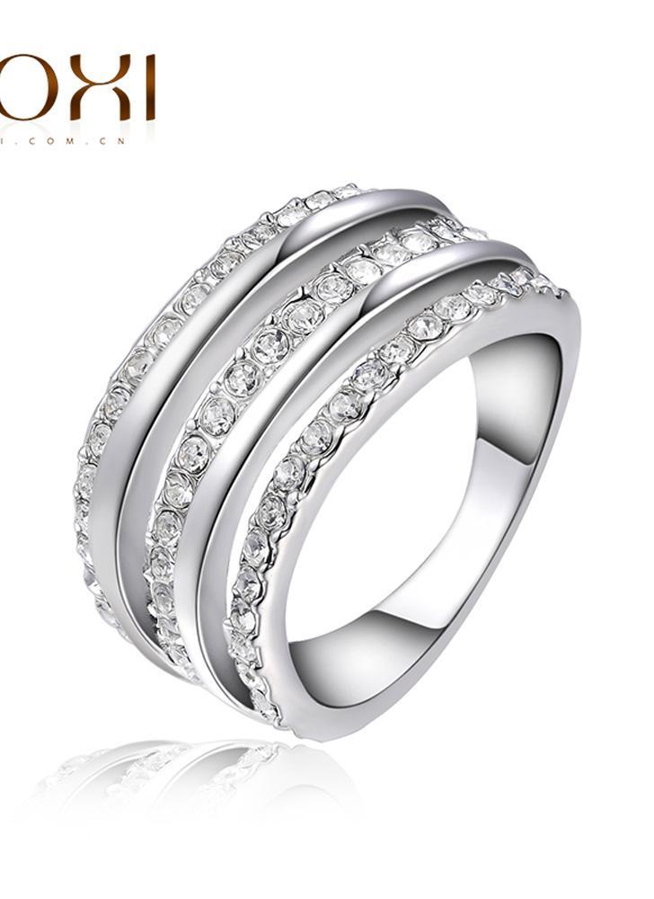 ROXI clássico moda mulheres noiva casamento ouro branco anel de cristal austríaco chapeado noivado jóia acessório presente