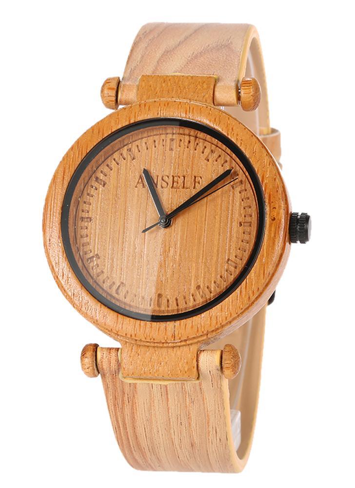 ac7e2a3e Anself Мода высокого качества натурального бамбука Деревянные Наручные часы  3ATM водостойкой Простота Модные Unisex Часы для