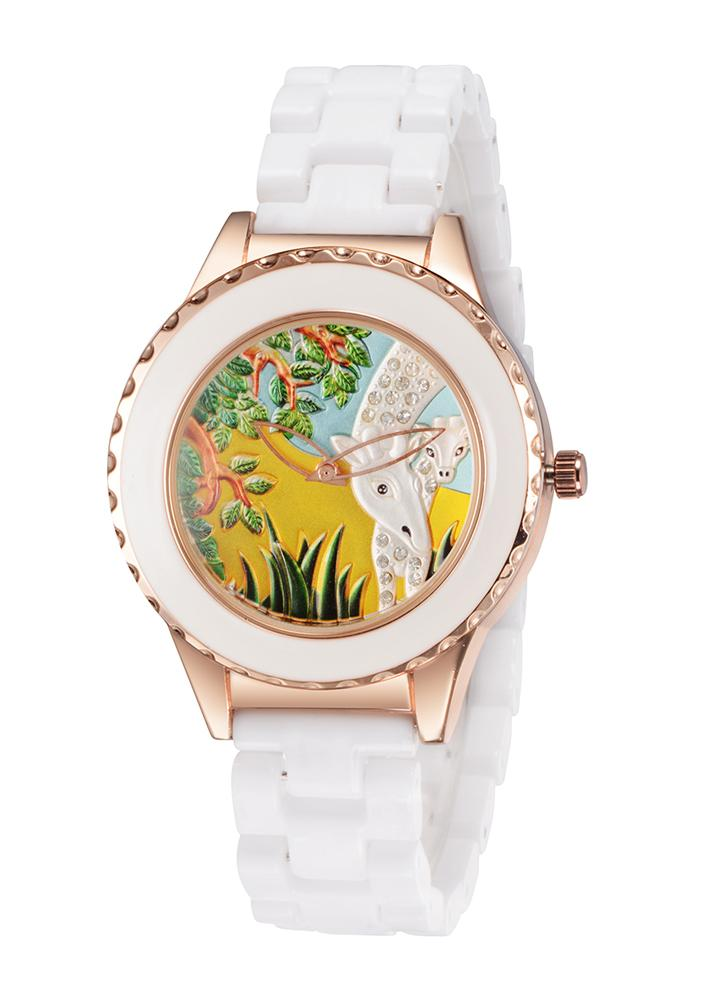 Quartz ASJ Fashion Unique cool Marque Femme Femme Alliage céramique Band Wristwatch avec motif animal