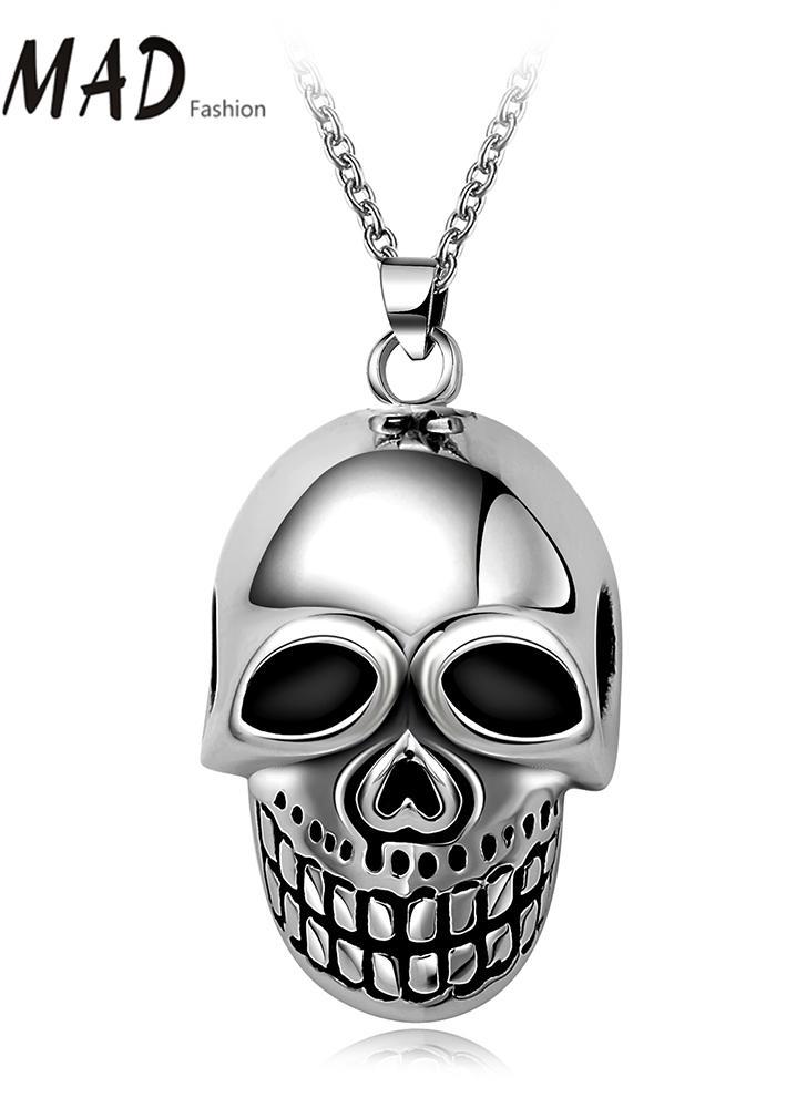Cráneo colgante collar romad único de la manera del encanto punky caliente de acero inoxidable del metal joyería de la cadena de muchacha de las mujeres del hombre de partido unisex Banda regalo