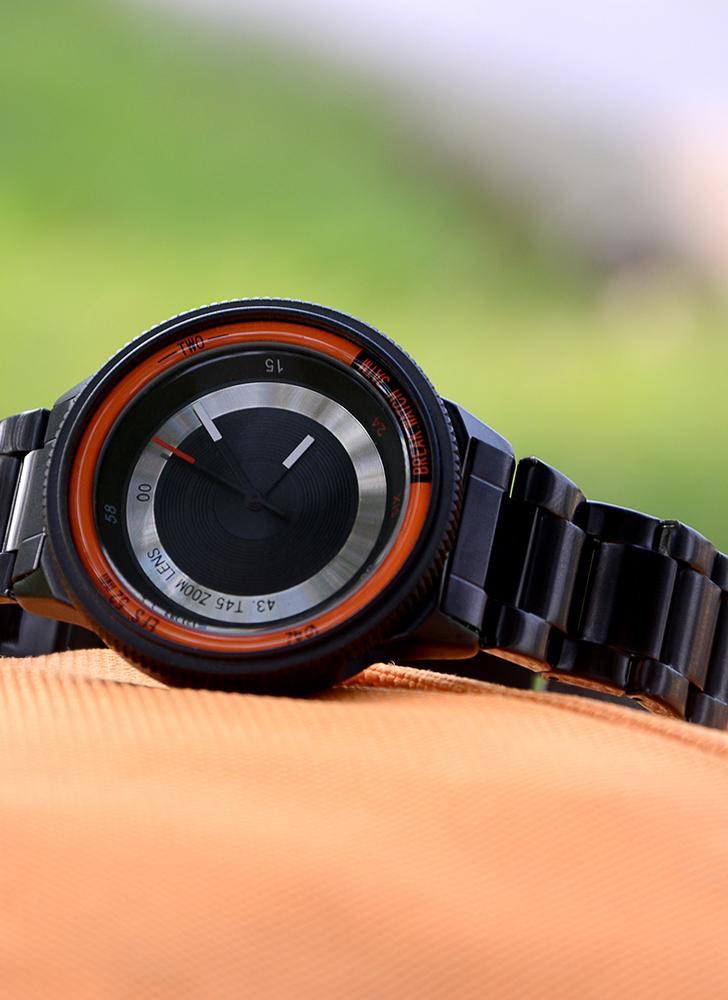 Перерыв Уникальный роскошный бренд из нержавеющей кварцевой камеры Стиль Мужские часы