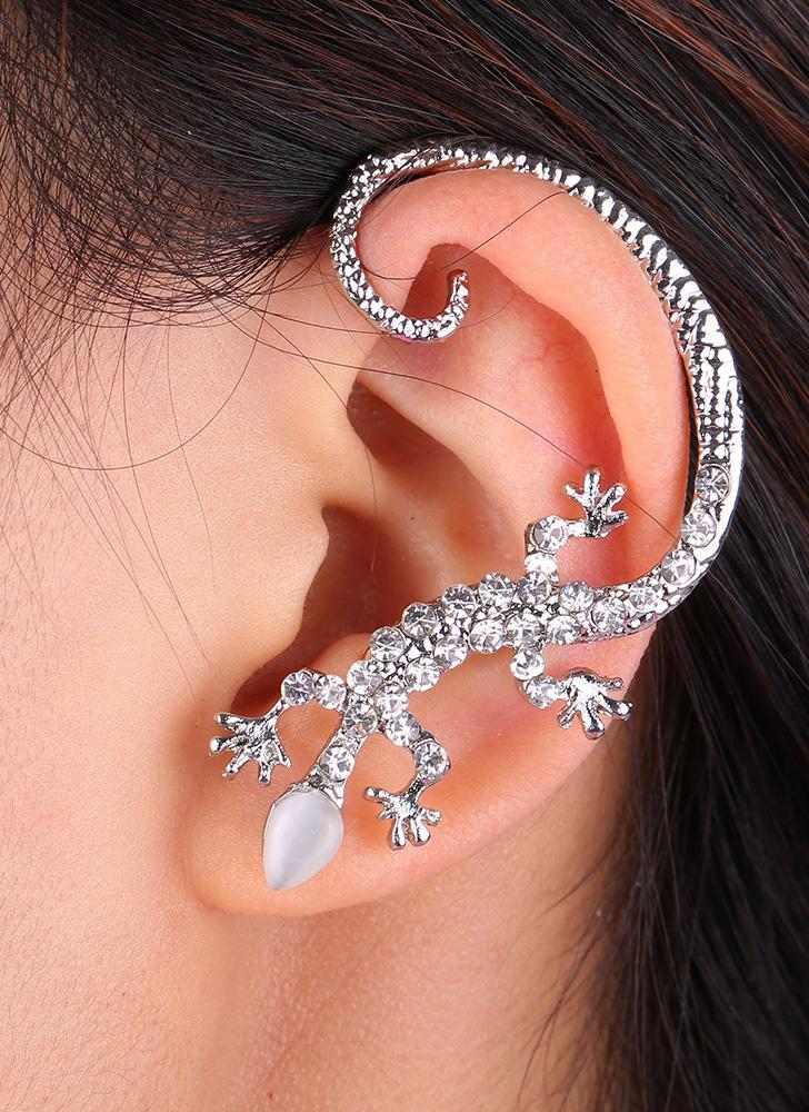 Fashion Various Styles One Ear Gecko Wings Leaves Crystal Zircon Studs Earrings Clips