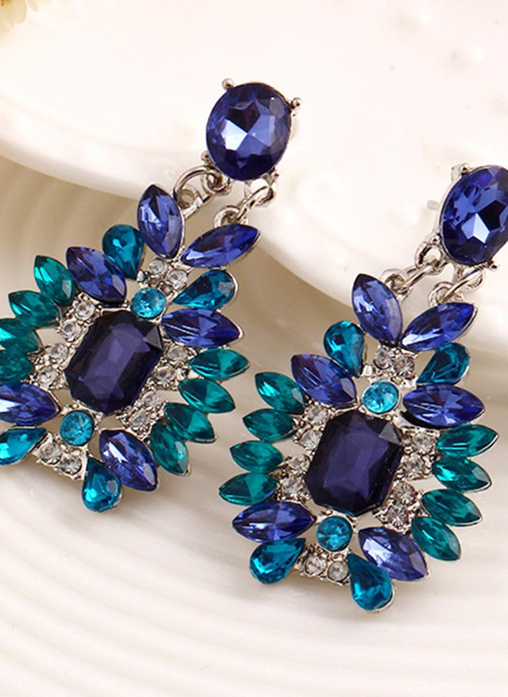 Fashion Luxury Diamond Crystal Ear Studs Alloy Earrings Ethnic Style for Women Jewelry
