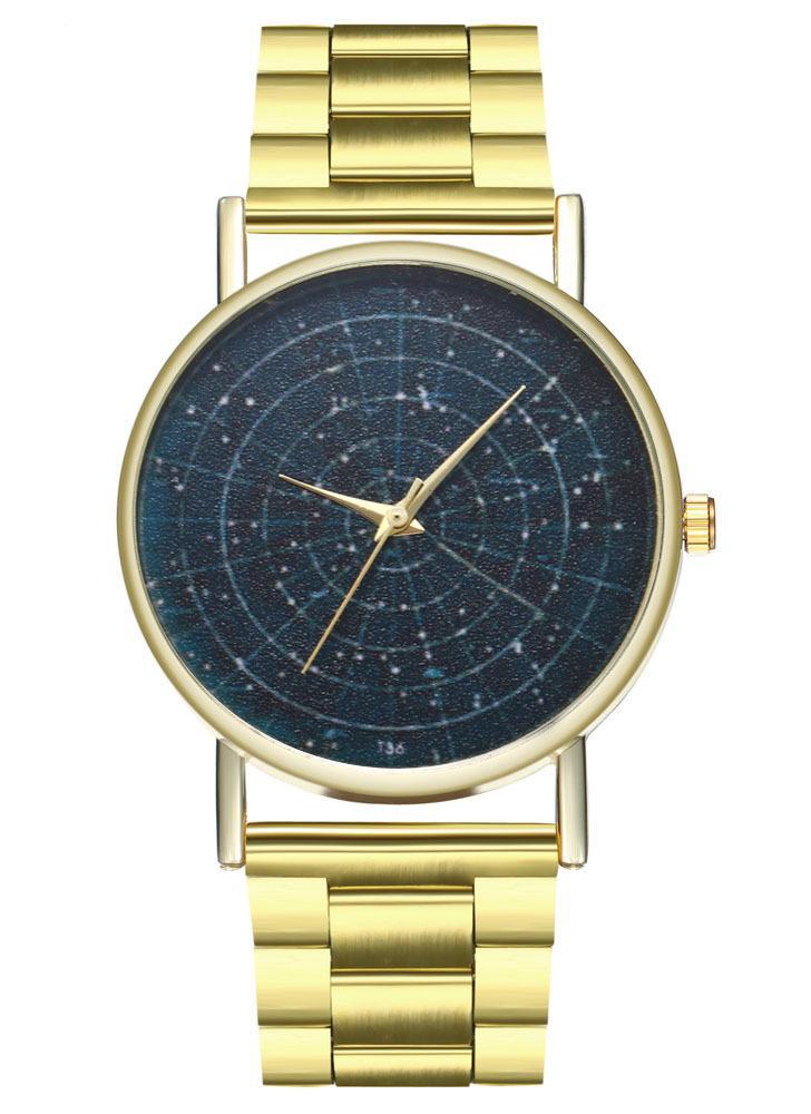 491932705fd Pulseiras de luxo Moda Feminina Homens Relógio Simples de Ouro Pulseira de Aço  Inoxidável Pulseira de