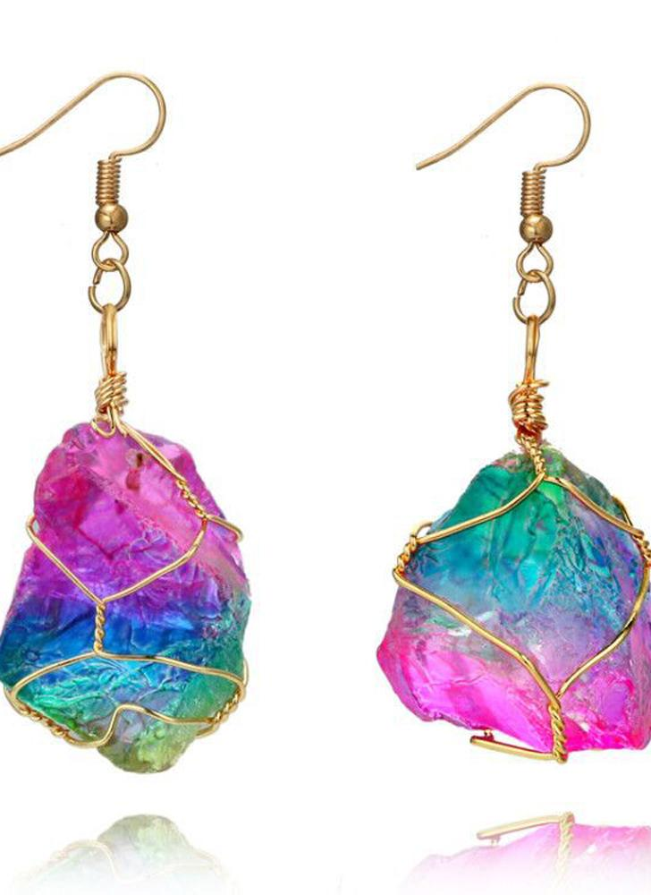 Fashion Creative Rainbow Crystal Natural Stone Earrings Eardrop and Colorful Wire Wrapping Long Pendant Necklaces a Choosable Suit of Accessorie for Women and Girls