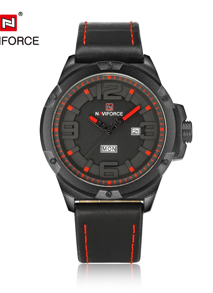 NAVIFORCE Mode 3D Dial Hommes Quartz Wathes PU Leather Sports Watch
