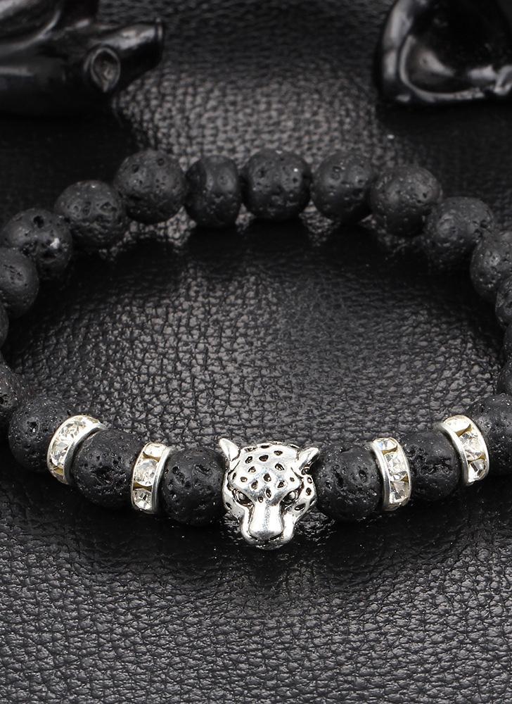 Bracciale elastico in pietra naturale Bracciale elastico in cristallo naturale Testa di leopardo