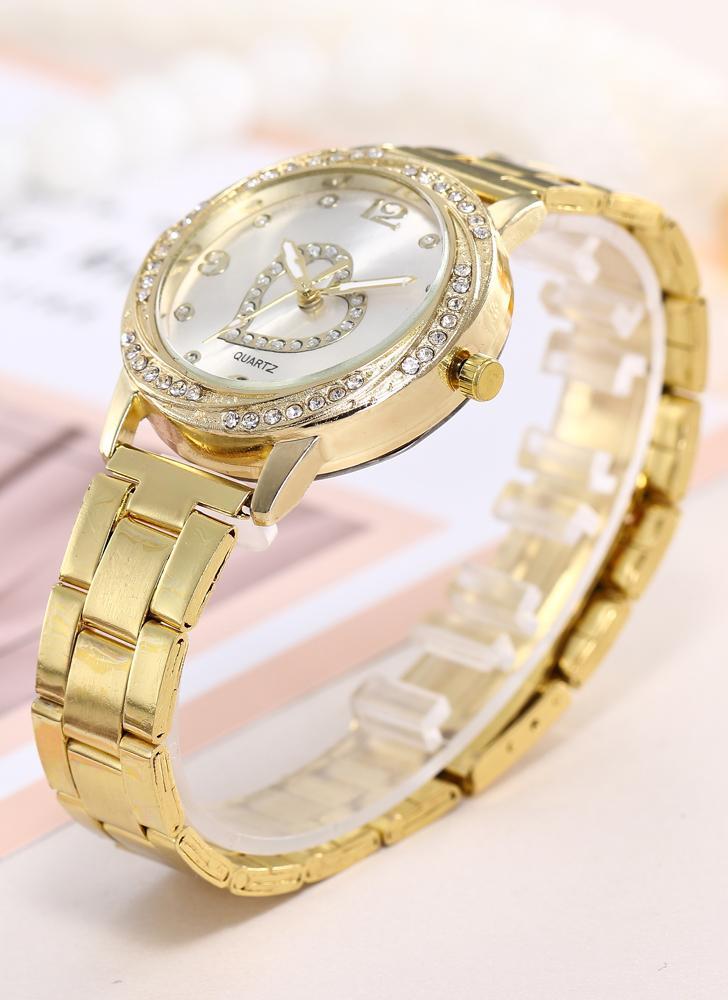 Moda Diamante Reloj Número Escala Corazón Cuarzo Reloj Aleación Band para Mujeres Decoración