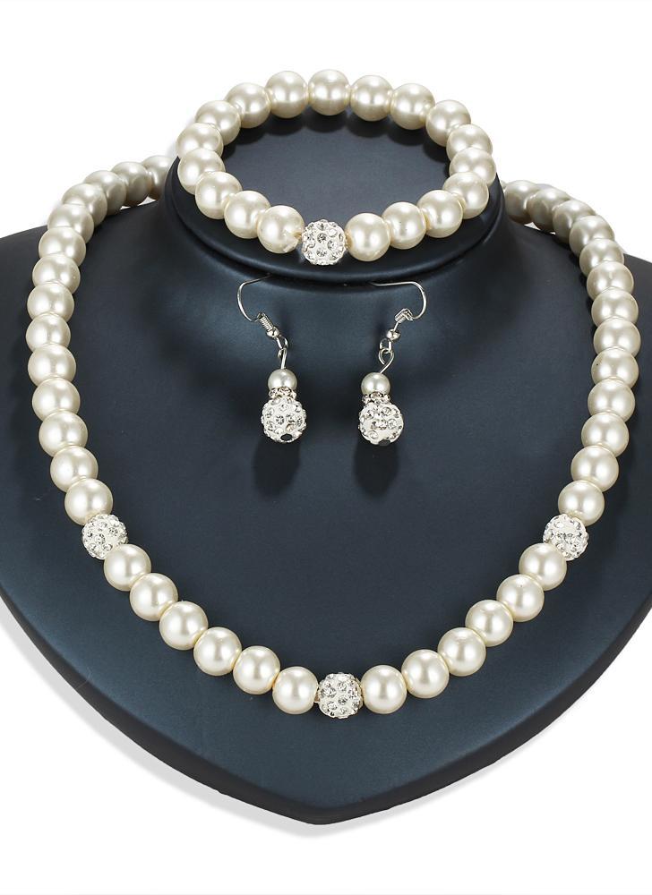 Мода личности жемчужина ювелирные изделия набор ожерелье серьги браслет для женщин свадебное участие