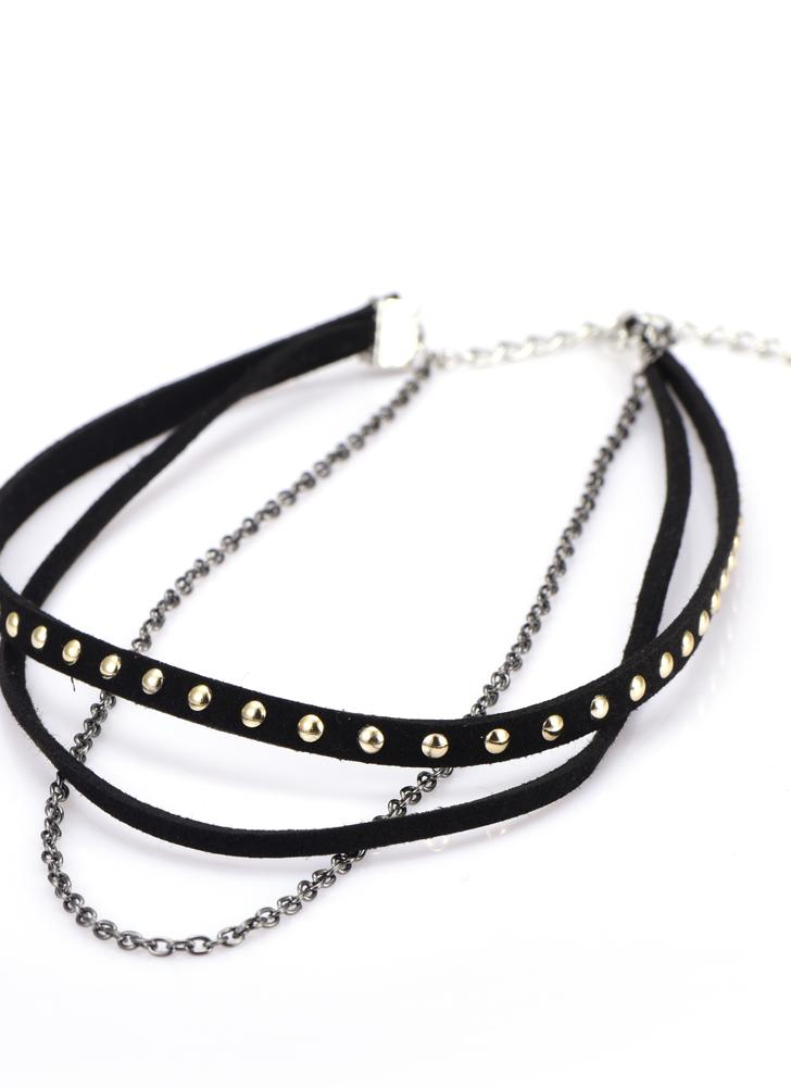 Vintage Beads Cross Lace Choker Black Necklace