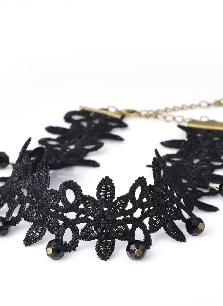 Gothic Punk Lace Choker Wide Necklace