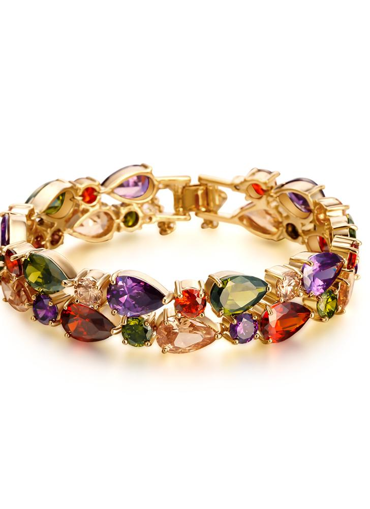 Colorful Zircon Rhinestone Crystal Gold Plated Bracelet