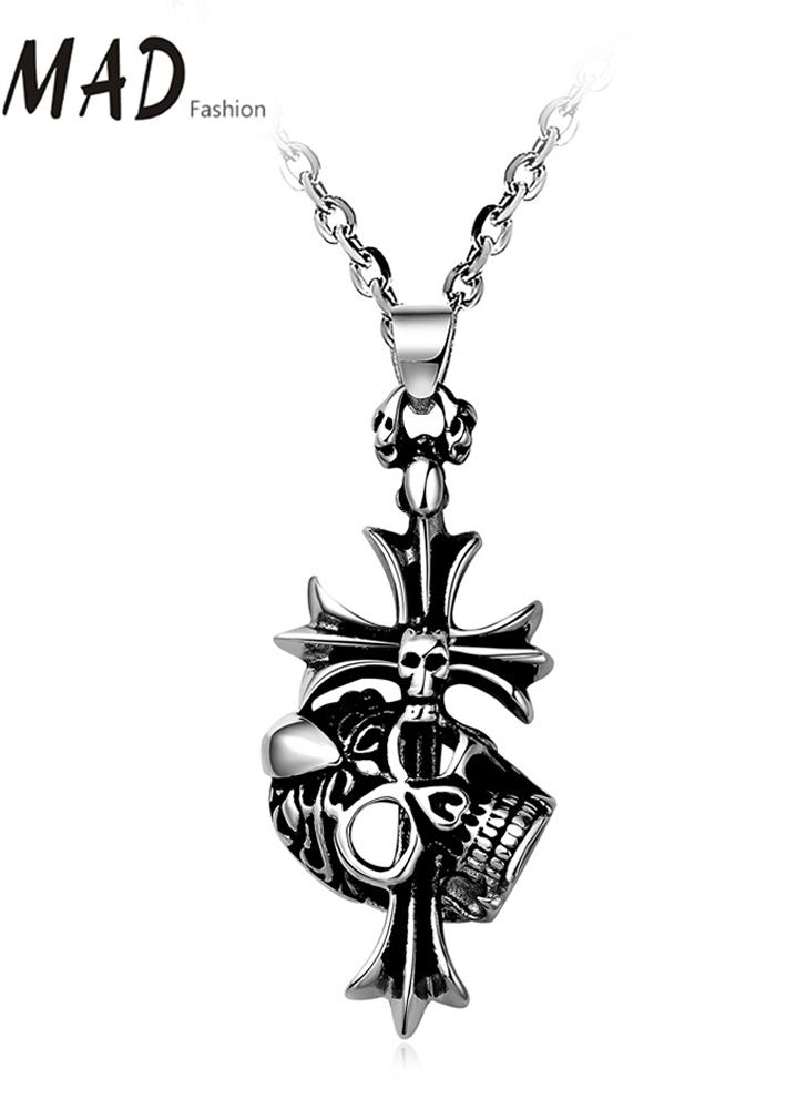 Colar Pingente romad de forma original encanto Hot Punk Metal Aço Inoxidável Cruz cadeia de jóias para a Band presente unisex do partido Mulheres Homem menina