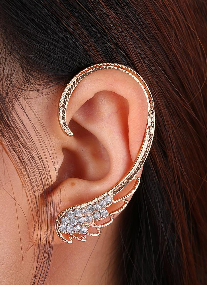 Fashion Various Styles One Ear Hawk Swing Sector Starfish Petal Embedded Crystal Studs Clips