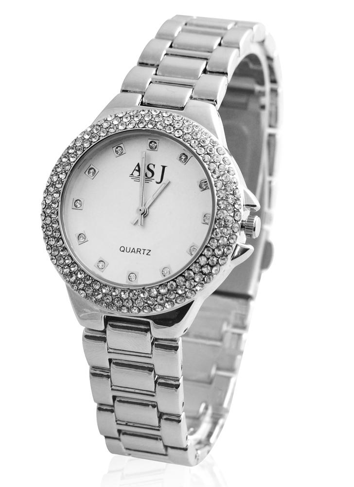 e921c899e17 ASJ forma fresco da mulher Feminino Marca relógio de quartzo Metal Liga  Analog Rhinestone de cristal
