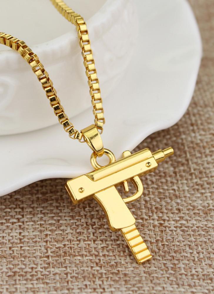 Gold fashion unisex alloy men women hip hop necklace pistol rifle fashion unisex alloy men women hip hop necklace pistol rifle pendant chain for boy girl aloadofball Image collections