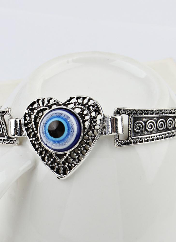 Mode personnalisé Coeur-forme Embedded Blue Eye Bracelet Vintage sculpture motif métal Bracelet Bohême poignet décoration cadeau