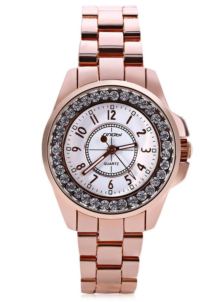 2017 SINOBI Moda Diamante De Lujo De Cerámica-Like Band Quartz Ladies Watch