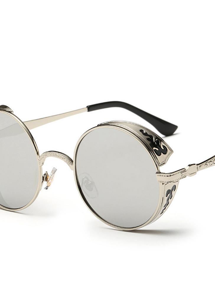Clássico Steampunk Euramerican Round Metal Esculpido Óculos de sol deslumbrante