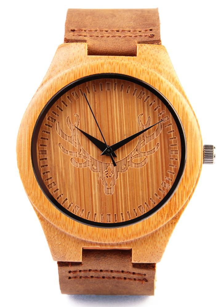 Redear Saudável Natural Relógio de pulso de bambu com rena Dial diário Water Resistant Simplicidade na moda Man relógio para aniversário de casamento