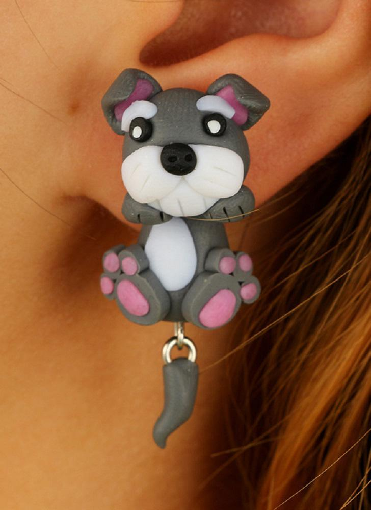 Dibujos animados de moda Cute Pet Dog Earrings Hecho a mano Clay Ladies Pendientes Personalizados Joyería