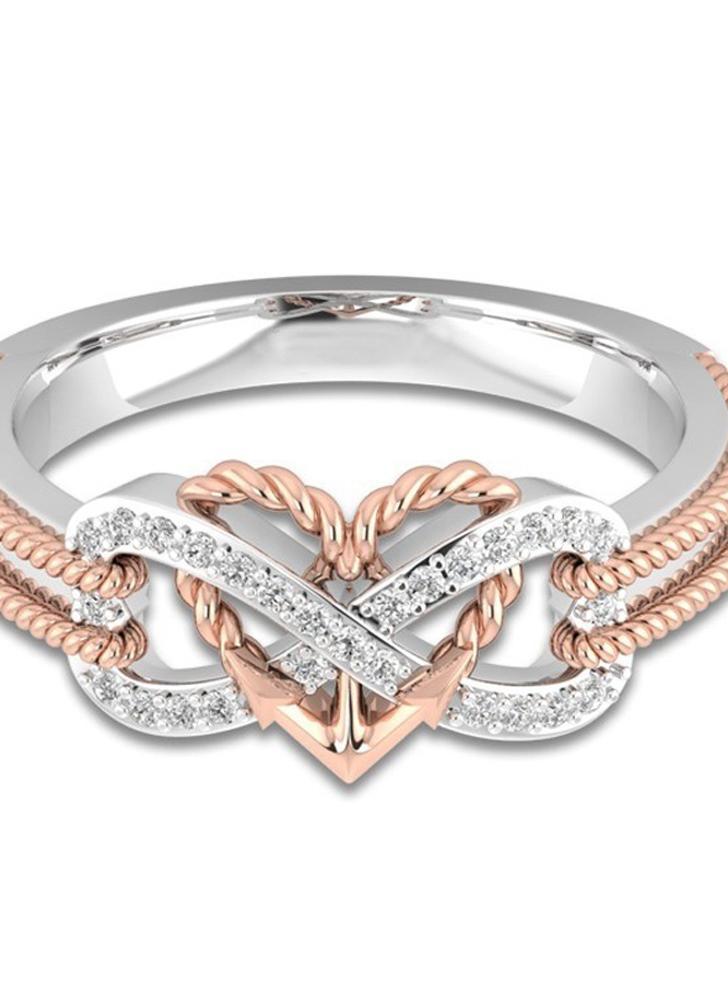 Forme de l'amour coeur bague en diamant or mode cristal anneaux bijoux pour les accessoires de mariage de partie des femmes et des filles