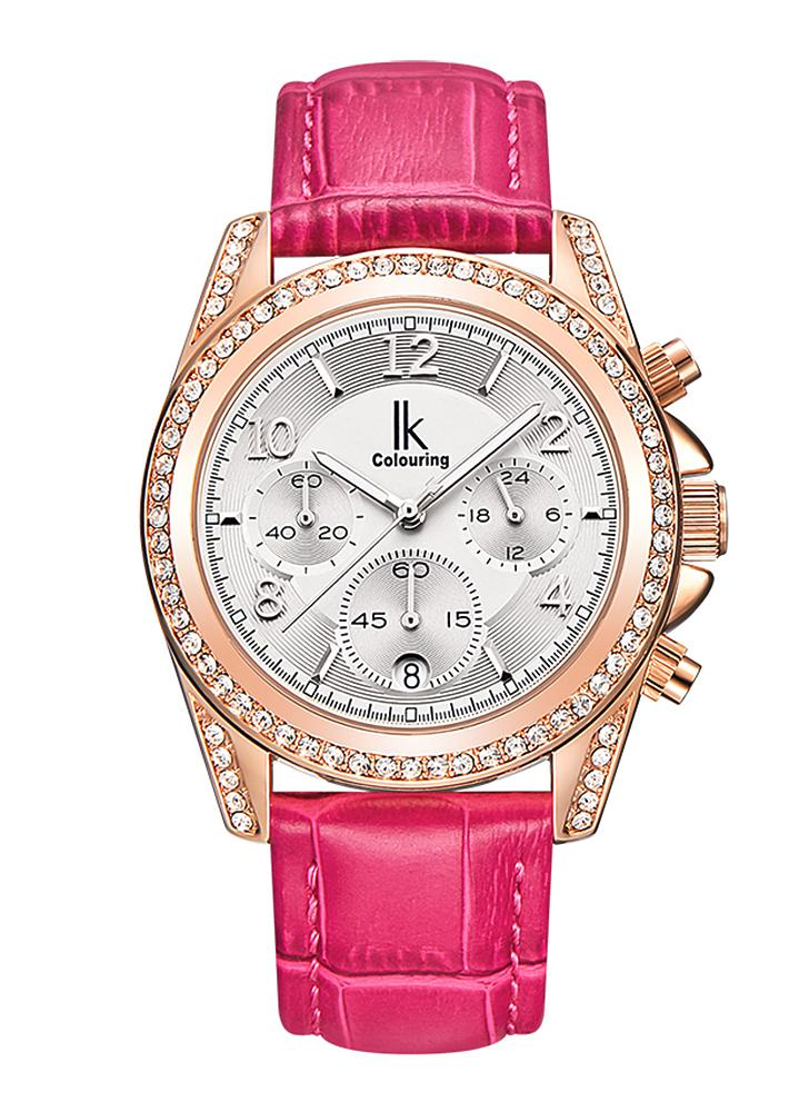 IK COLORATION 2017 Marque de luxe en acier inoxydable / cuir véritable femme Montres Mesdames Quartz Diamant Analog Water-Proof Casual Dress Wristwatch + Box
