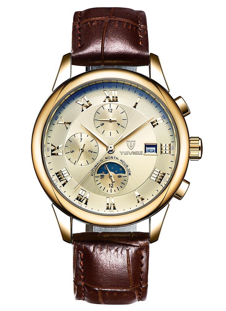 TEVISE Luxo Lua Fase Luminoso Impermeável Automático Man Mecânica Relógios Genuine Couro Self-Winding Men Business Relógio De Pulso Masculino Relogio + Caixa