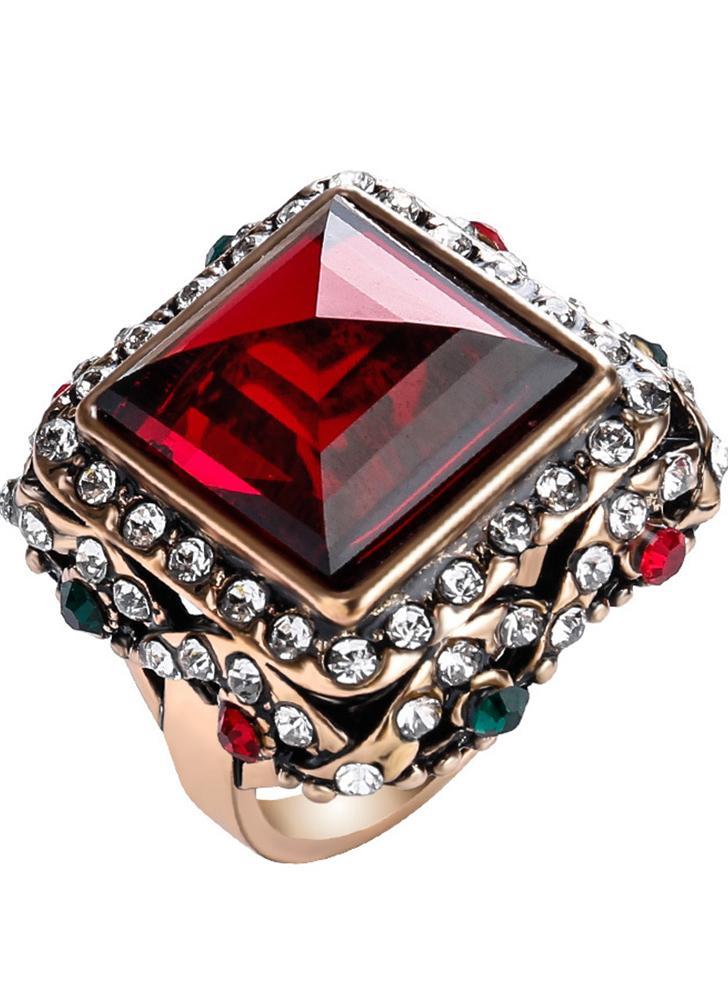 Moda retro quadrado Rhinestone vintage anel vintage para as mulheres