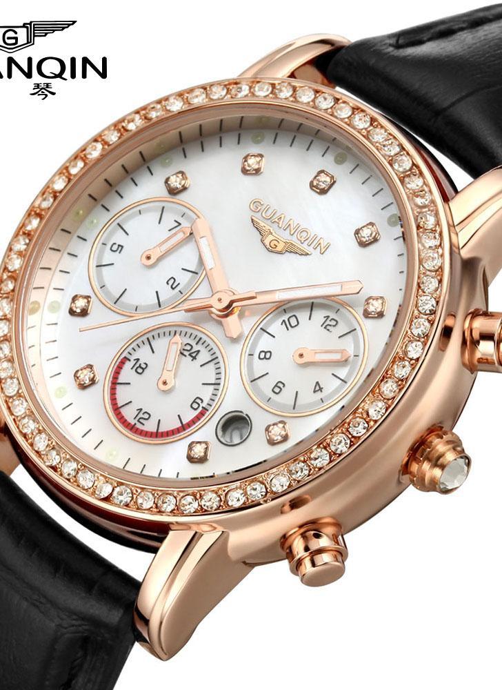7fe137fb67d GUANQIN 2016 mulheres luxo marca relógios quartzo vestido relógio  impermeável moda Diamante sintético Sapphire couro relógio