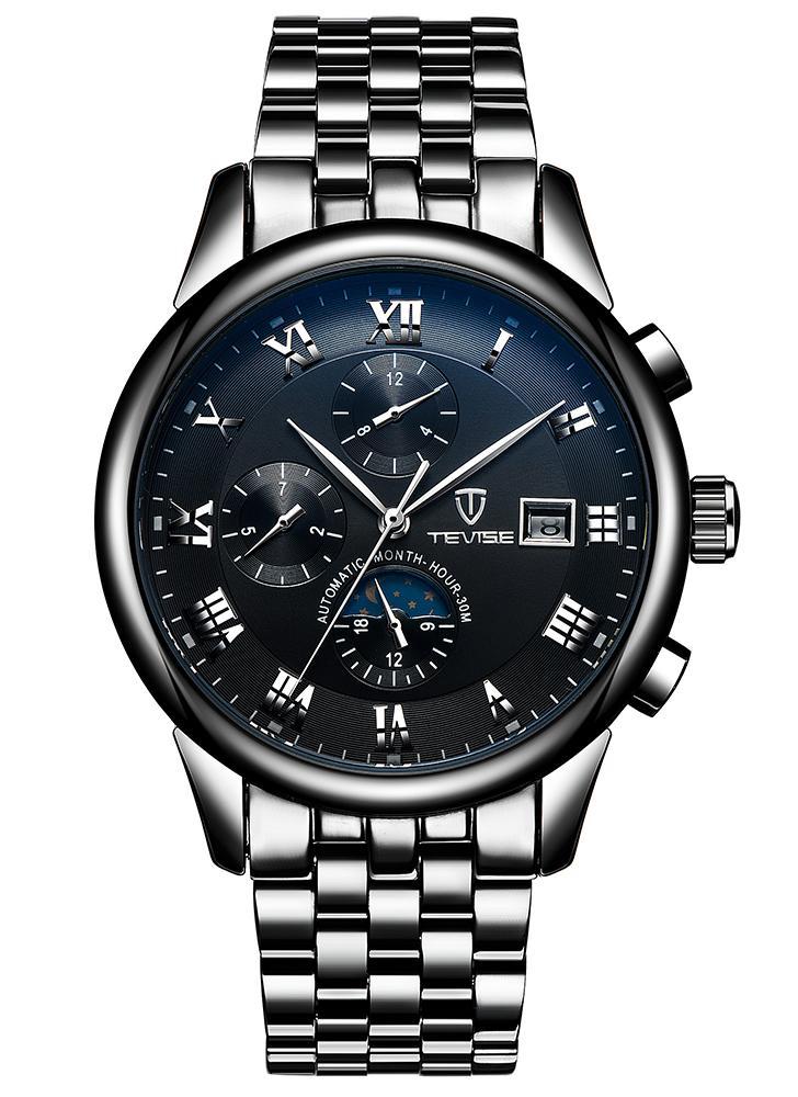 TEVISE Luxus Mondphase Leuchtender Edelstahl Mann mechanische Uhr