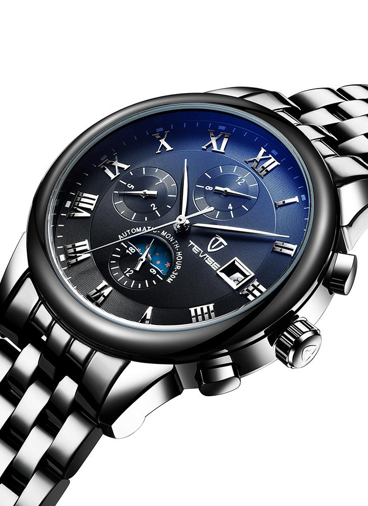 TEVISE Luxury Moon Phase Luminous Stainless Steel Man Mechanical Watch