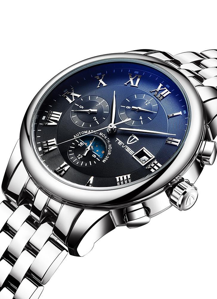 c961123d02c Relógio mecânico do homem de aço inoxidável luminoso da fase luxuosa da lua  de TEVISE