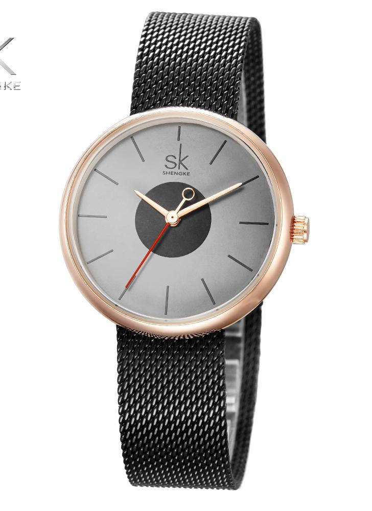 ca9ba9de7fd SK simplicidade elegante de malha de aço inoxidável elegantes senhoras  relógios